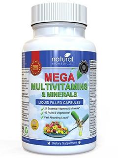 Mega Multi-vitamins & Minerales Suplemento. Multivitamínico.