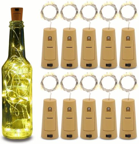 10pcs Corcho Con Luz Led Para Botellas Blanco Cálido Navidad