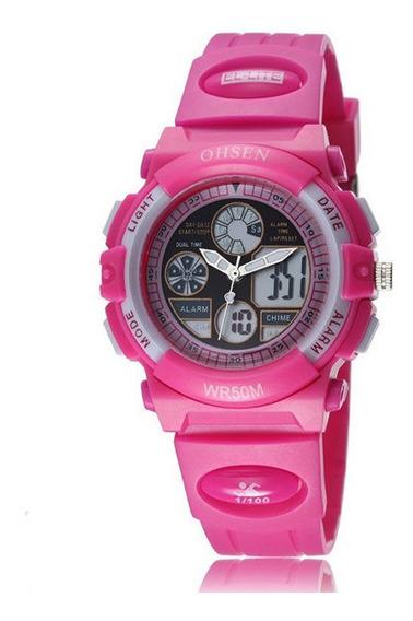 Ohsen Ad1502 Mulheres Meninas Moda Led Esporte Relógio