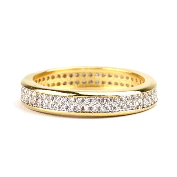 Anel Aliança Dourado Em Zircônia Quadrada Branca - An030133