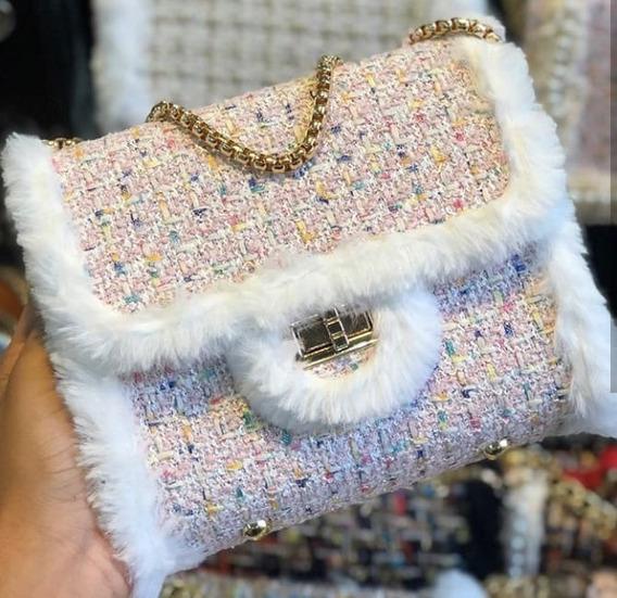 Bolsa Importada Feminina Xadrez Pequena Tweed Pérolas