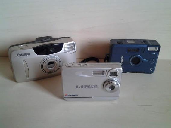 Coleção 3 Máquinas Fotográficas Anos 90 Canon E Solomon