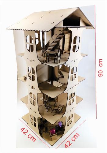 Casita De Muñeca + 25 Muebles Moderna Fibrofacil Lolita