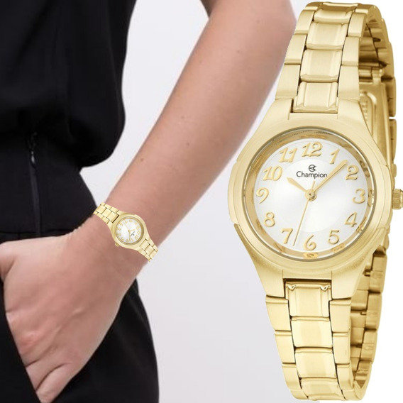 Relógio Feminino Champion Pequeno Dourado Ch24928h
