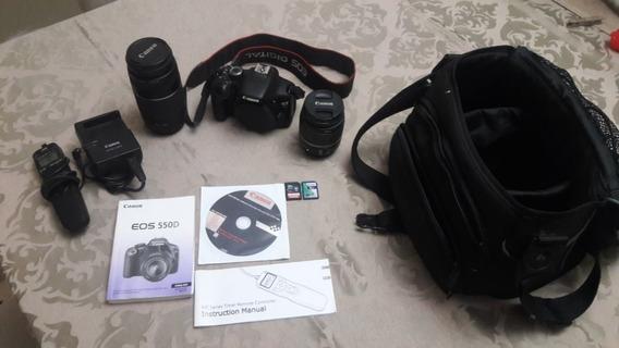 Câmera Canon Eos 550d - T2i Com 2 Lentes E Acessórios