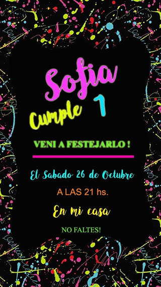 Fiesta Fluor Neon Invitación Tarjeta Digital Whatsapp