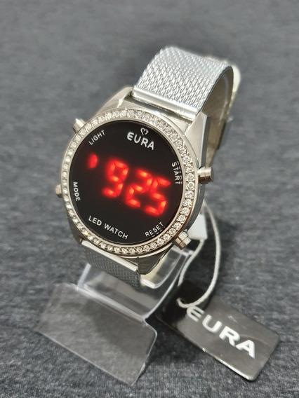 Relógio Feminino Led C/botão Prata C/strass Moda 2019 Barato