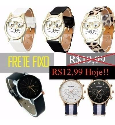 Relógio Feminino Pulso Luxo Barato Couro Unissex