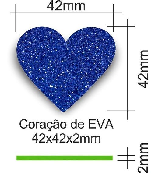 Aplique De Coração Em Eva Com 50 Peças 42x42x2mm Com Glitter