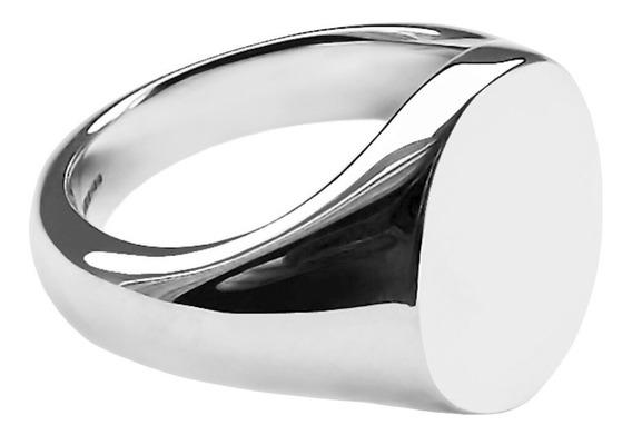 Anel De Sinete Masculino E Feminino Oval Joia Em Prata 950