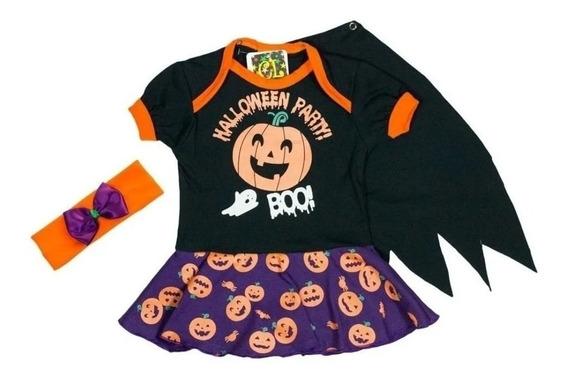 Body Infantil Halloween Vestido Capa E Arquinho Bch01