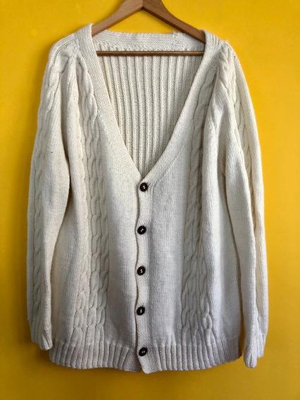 Sweater - Cardigan Con Botones Color Beige Talle U