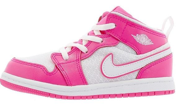 Niña Original Tenis Nike Jordan Retro 1 Mid Bt Pink White Dñ