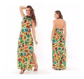 Vestido Longo Estampa Floral Com Fendas Handara