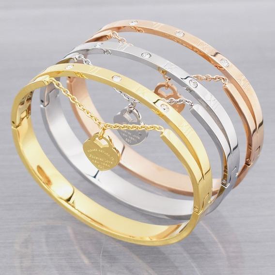 Pulseira Feminina Aço Folheada Ouro 18k Coração Bracelete Números Romanos Namorada Esposa Bodas Joia C460