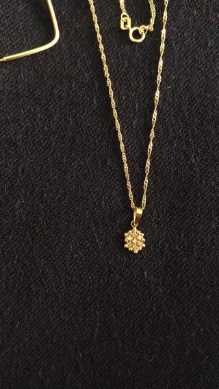 Colar E Pingente ( Cravejado Com 6 Brilhantes) Em Ouro 18k
