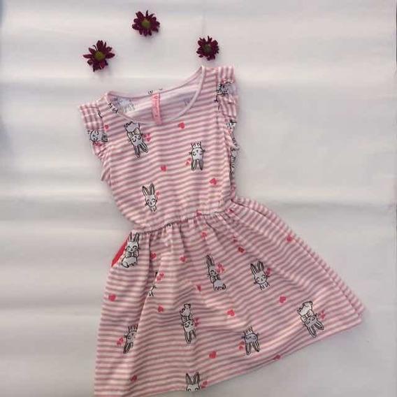 Vestido Rayas Estampado Rosa