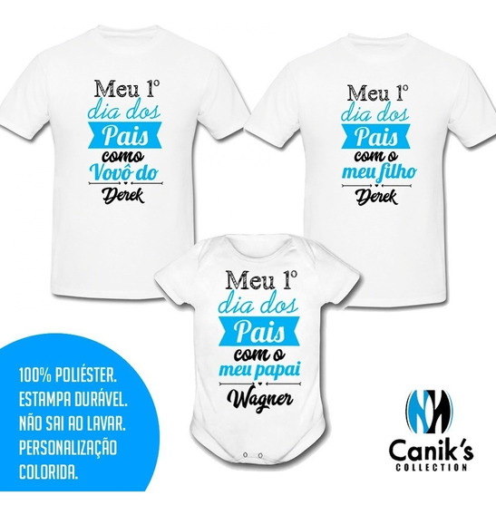 Kit Família - Body Infantil + 2 Camisas Meu 1º Dia Dos Pais