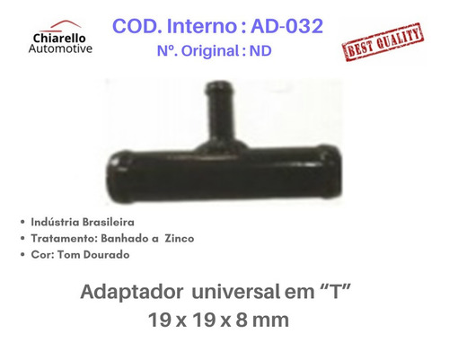 Adaptador Universal T Para Mangueira 19 X 19 X 8 Mm
