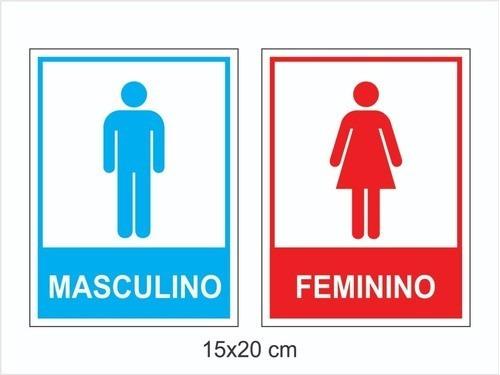 Imagem 1 de 3 de Kit Placas Banheiro Masculino 20 Pç /banheiro Feminino 20 Pç