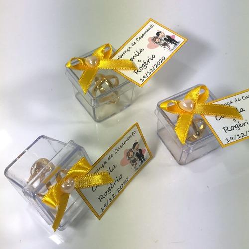 Lembrancinha Casamento Caixinha Alianças Amarelo Ouro 50 Und
