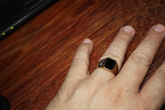 Anel Masculino Comendador Banhado Ouro 18k Aço Titânio