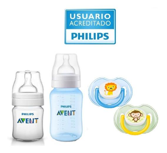 Set Recien Nacido Avent ® 2 Mamaderas 2 Chupetes Varon Mixto