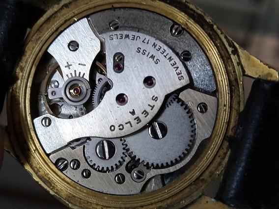 Reloje Steelco 17 Jewels Antiguo De Cuerda Baño De Oro Suizo