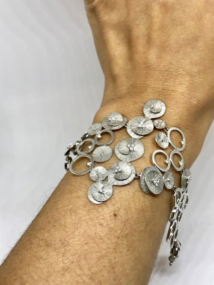 Glitter Joias - Pulseira Em Ouro Diamantes E Flores