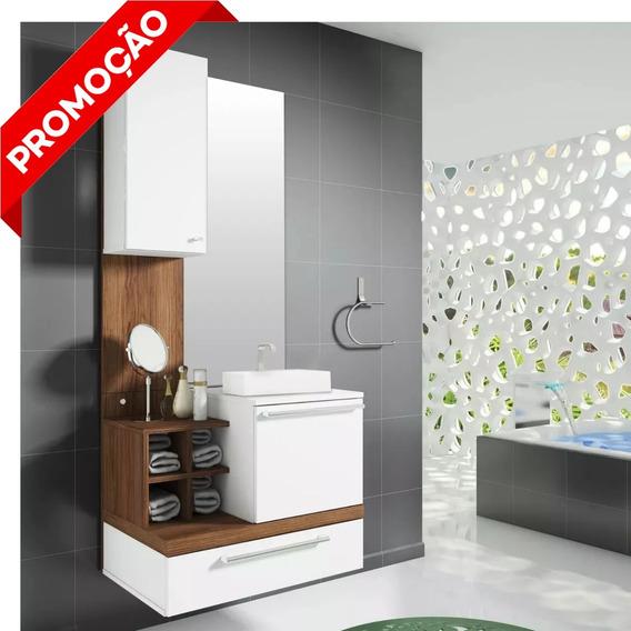 Gabinete P/ Banheiro Completo Mdf C/ Cuba Pia Espelho Balcão