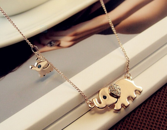 Hermoso Collar Con Dije De Elefante, Paseo Familiar, Regalo