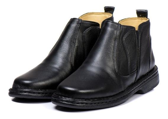 Bota Botina Sapato Antistress Masculino Ortopédico Couro