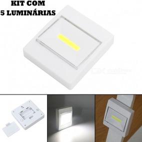 Kit 5 Mini Luminária Led Armário Corredor Abajur Imã Pilha