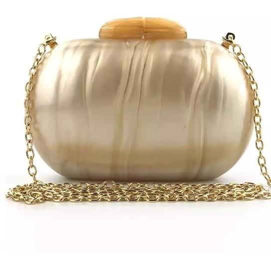 Bolsa Clutch Oval Dourada Champagnhe Pérola Festa Madrepérol
