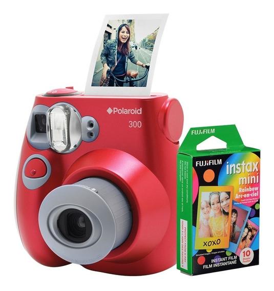 Câmera Polaroid Instantânea Pic 300 Verm. C/ Filme 10 Poses