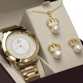 Relógio Champion Feminino Ch24259d + Brinde Banhado Ouro 18k