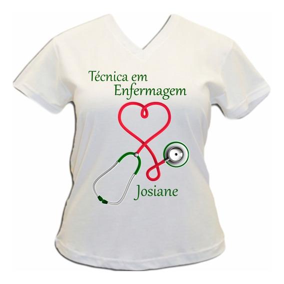 Camiseta Técnica Em Enfermagem Nome Personalizado Oferta