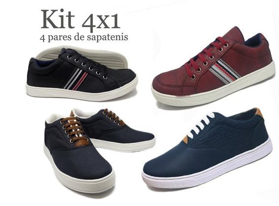 Kit Com 4 Pares De Sapatenis Casual Masculino Top