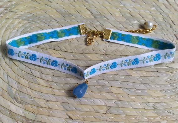 Choker Bordado Flores Azules Piedra Natural Moda Gargantilla