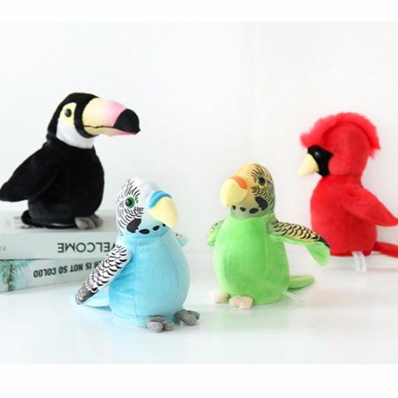Pássaro Brinquedo Papagaio Eletrônico Falante Preto Moviment