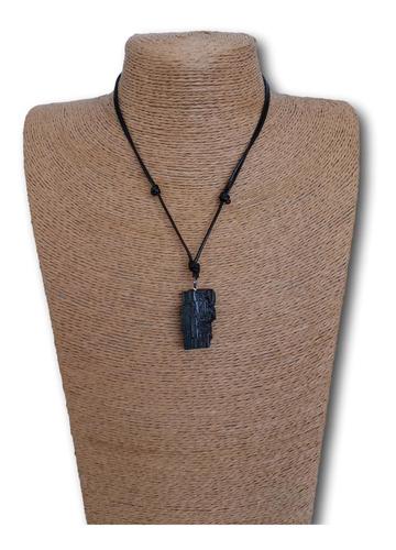 Imagem 1 de 7 de Colar De Pedra Natural Turmalina Negra Ref: 7993