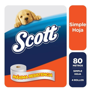 Papel Higienico Scott Simple Hoja 80 Metros X 4 Rollos