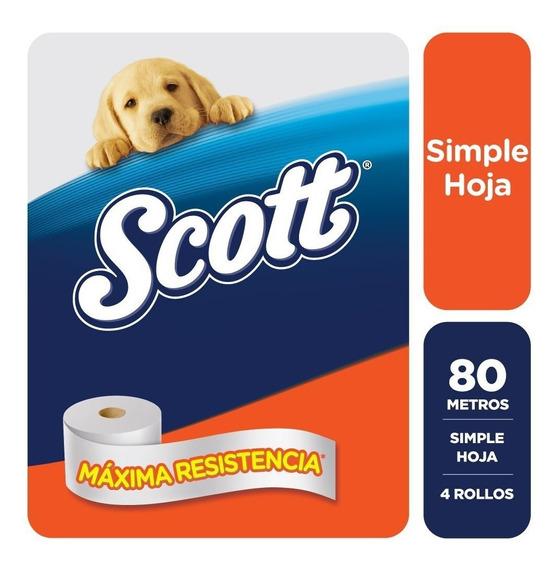 Papel Higienico Scott Simple Hoja 80 Metros X 4 Rollos