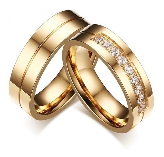 Par Alianças 6mm Banhada Ouro Casamento Noivado Anatômica