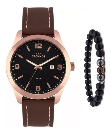 Relógio Technos Couro Legitimo Masculino 2115mpj/2p Pulseira