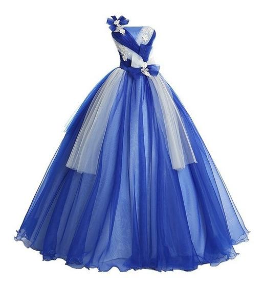 Vestido Quinceañera Bonito, Bordado Xv Años Azul Rey Envio G