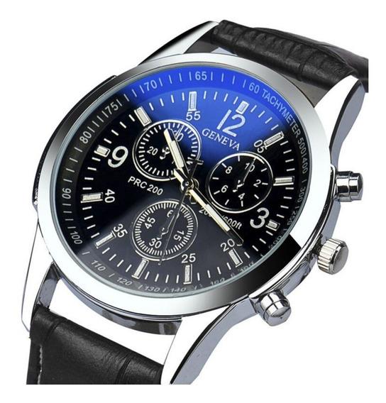 Relógio Masculino Pulseira De Couro Social Militar Geneva Original