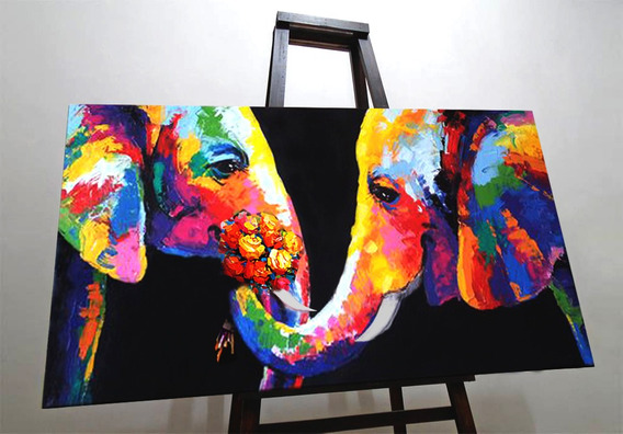 Cuadros Pinturas Decorativas Pop Art Elefantes Mascotas