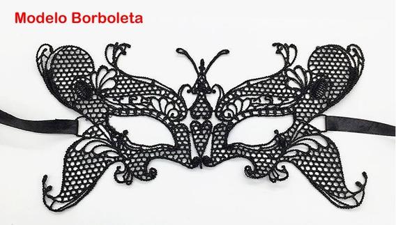 Máscara De Renda Preta 50 Tons Carnaval Ajustável Vivishop