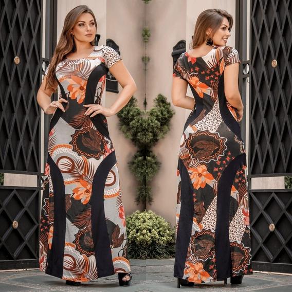 Vestido Feminino Longo Moda Evangélico Estampado Borboletas
